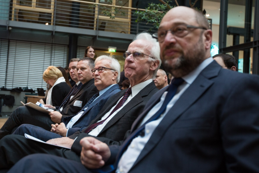 (left to right) Martin Schulz, Volker Hassemer, Hannes Swoboda, Georgi Gospodinov, and Kaspars Ruklis at #BC2015 © A Soul for Europe / www.seesaw-foto.com